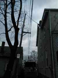 After clearing a Norway Maple from a building and utility lines in a tight spot.